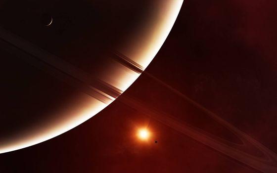 Фото бесплатно планета с кольцами, спутники, звезда