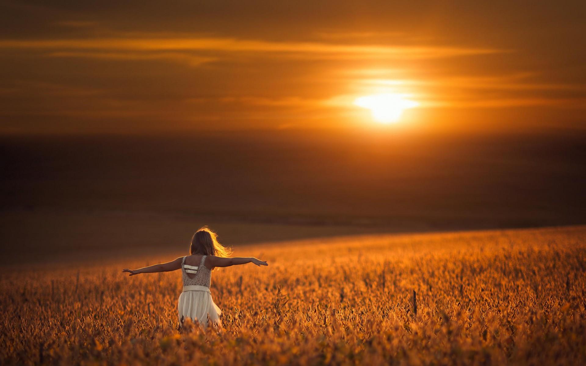 поле, пшеница, девушка