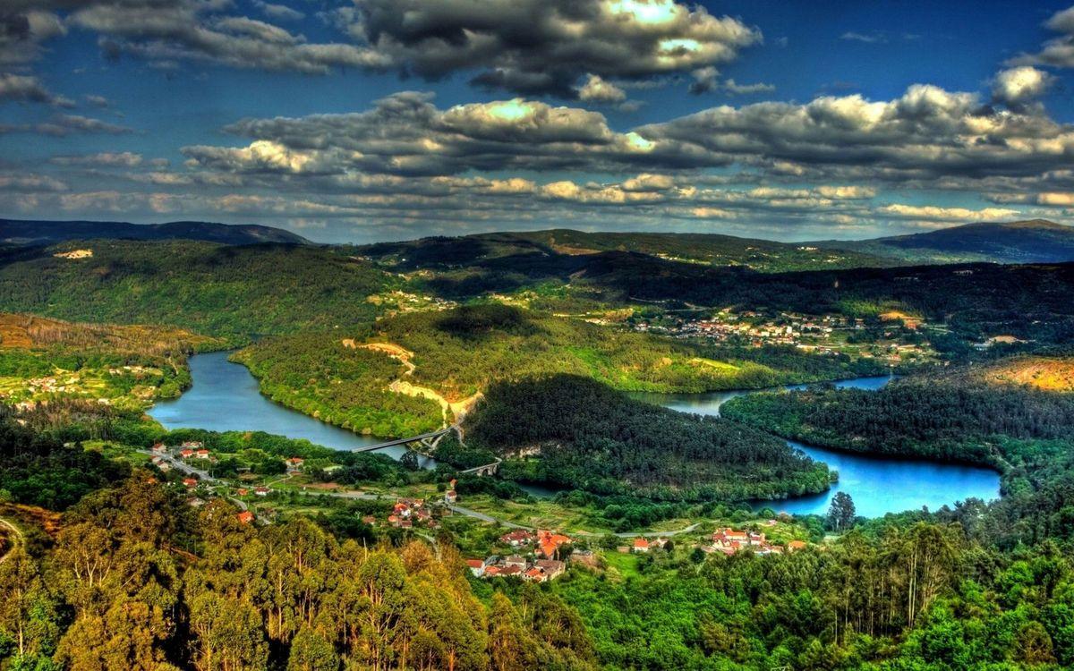 Фото бесплатно река, горы, лес - на рабочий стол
