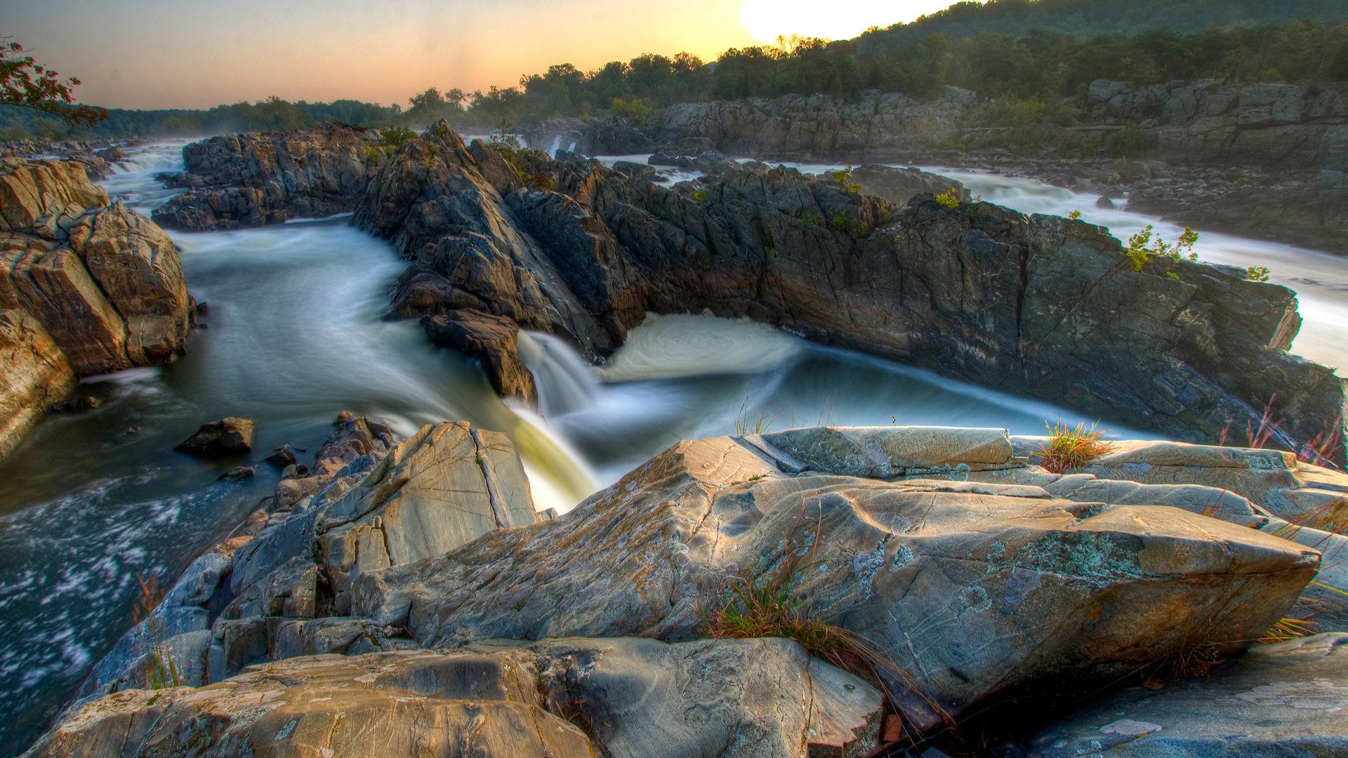 водопады, река, скала