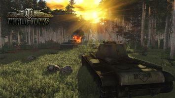 Бесплатные фото wot,world of tanks,танки,кв-3,тигр,лес,пожар