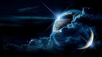 Фото бесплатно земля, луна, спутник, планета, кратеры, туча, облака, свет, звезды, блики, небо, материки, космос