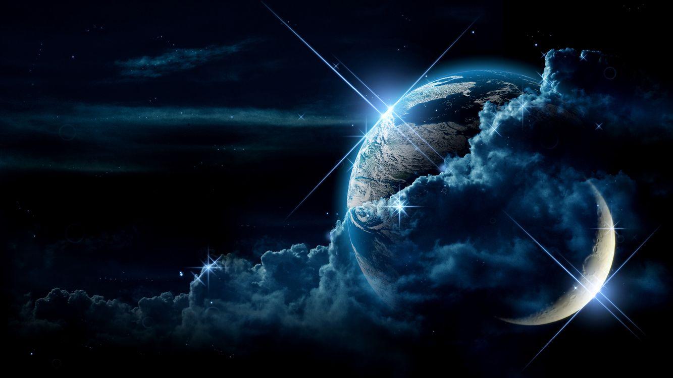 Фото бесплатно земля, луна, спутник, планета, кратеры, туча, облака, свет, звезды, блики, небо, материки, космос, космос