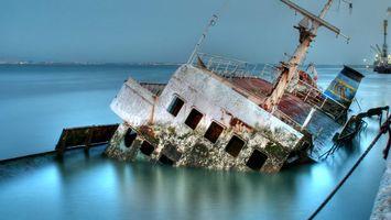 Бесплатные фото корабль,затонувший,ржавый,лед,река,горизонт,пейзажи