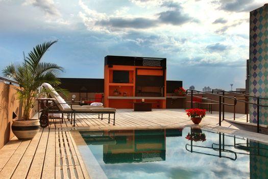 Фото бесплатно бассейн, пальмы, растение