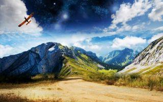 Бесплатные фото горы,дорога,самолет,небо,облака,трава,горизонт
