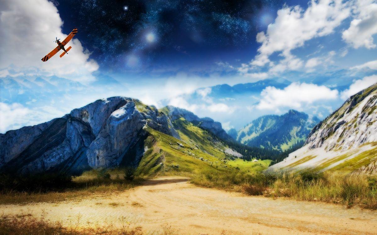 Фото бесплатно горы, дорога, самолет - на рабочий стол