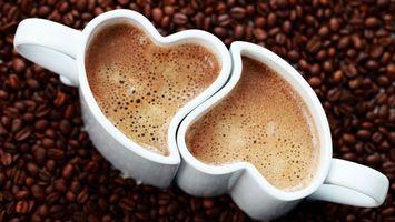 Заставки кофе, чашки, вид, сердечко, зерна, аромат, напитки, еда