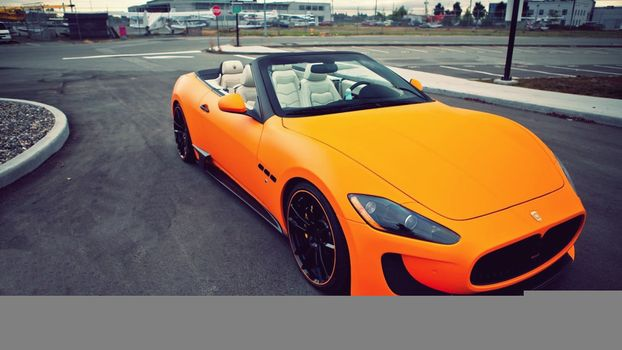 Фото бесплатно maserati, оранжевый, дорога