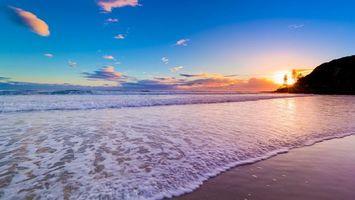 Заставки пляж,песок,берег,море,океан,волны,пена