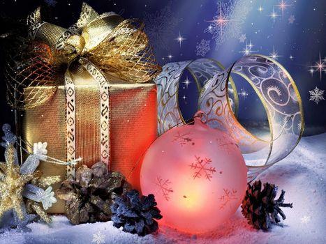Бесплатные фото шарик,ленточка,подарок,шишки,снежинки,звезды,снег,фон,синий,новый год,настроения,праздники
