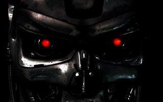 Фото бесплатно терминатор, робот, металл, лицо, глаза, светятся, фильмы