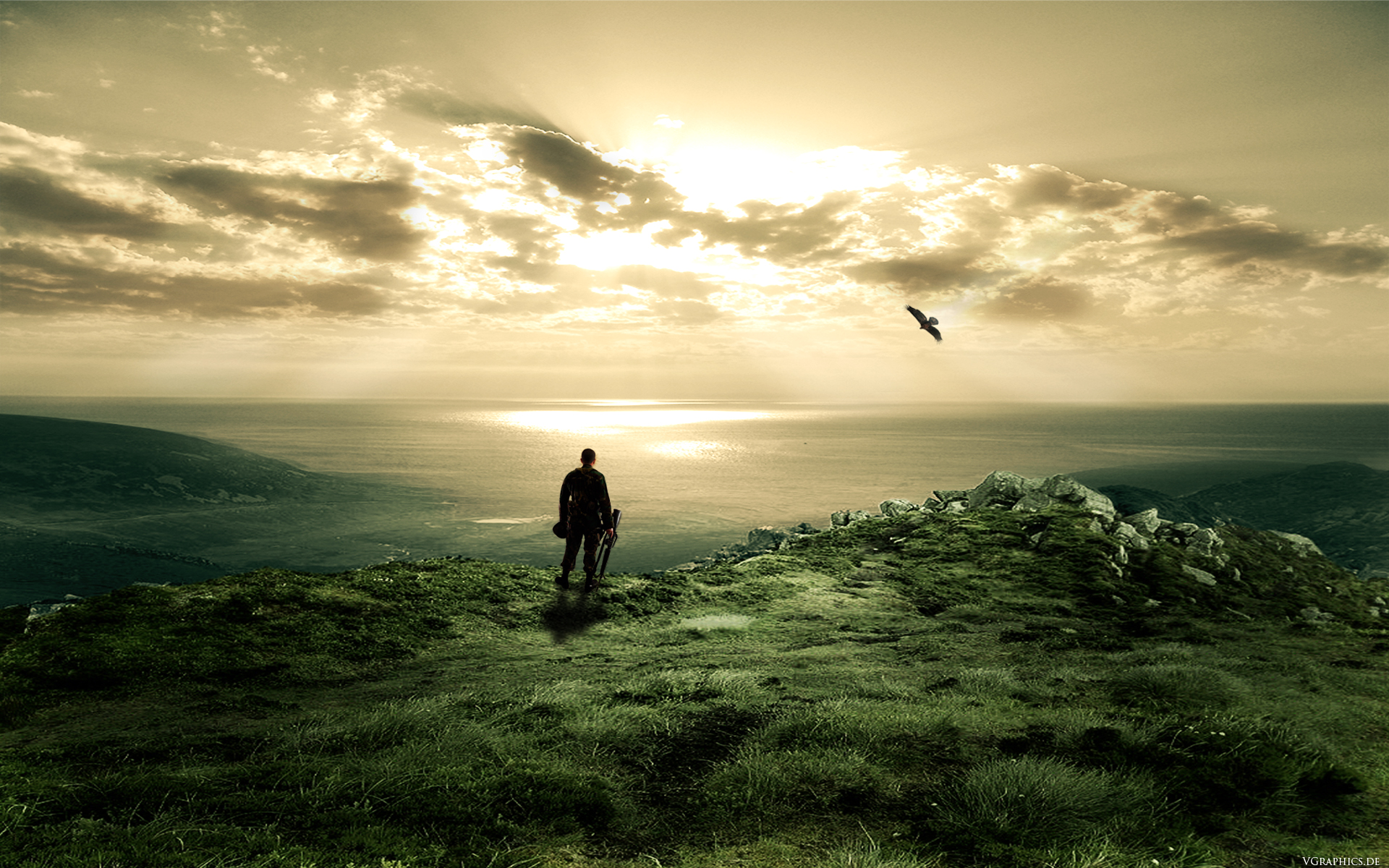 воин, берег, моря