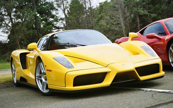 Фото бесплатно ferrari, желтый, красный