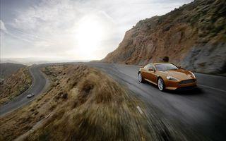Заставки aston martin,db9,коричневый,дорога,горы,скорость,машины