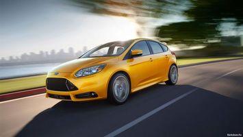ford, жёлтый, дорога, машины