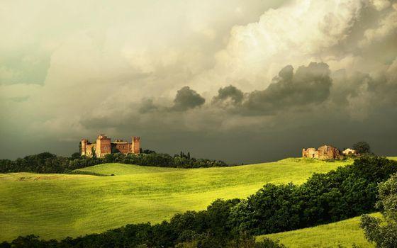 Бесплатные фото trequanda,tuscany,замок,дворец,поле,трава,природа