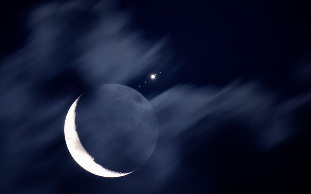 Фото бесплатно луна, месяц, звезды - на рабочий стол