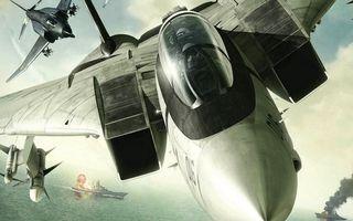 Заставки море, океан, вода, огонь, корабль, пушки, флот, самолет, ракеты, истребитель, авиация, оружие