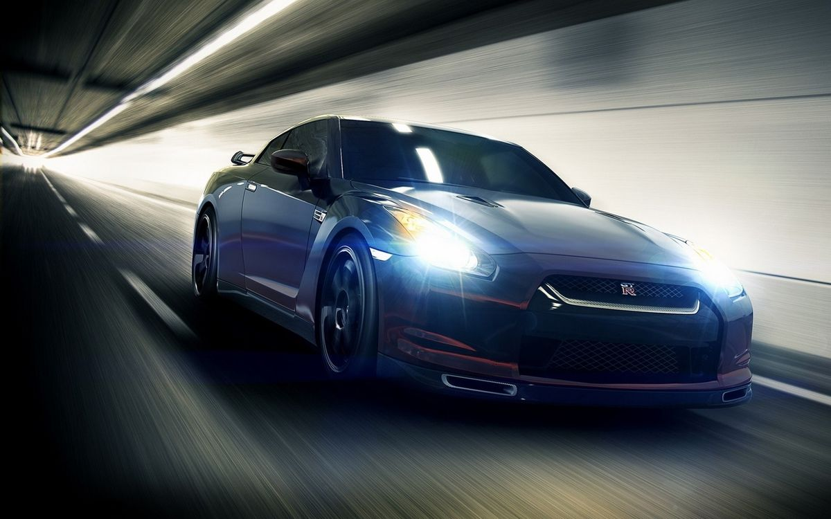 Free photo Nissan GTR, sports car, coupe, lights, xenon, track, speed - to desktop