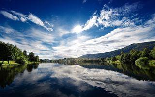 Бесплатные фото река,вода,отражение,деревья,солнце,небо,природа