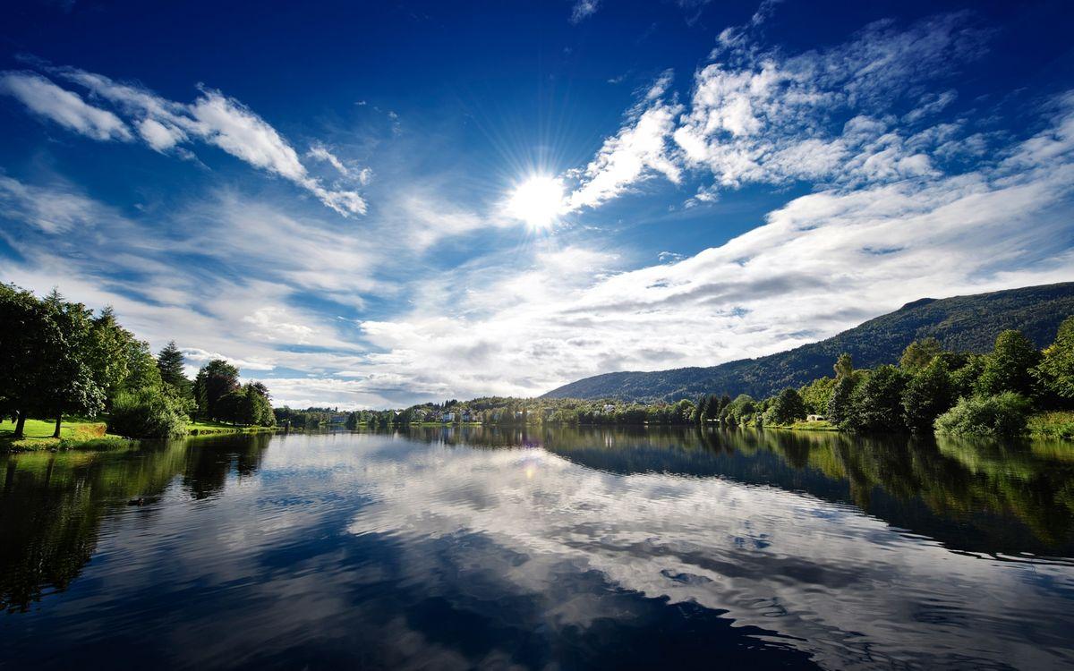 Фото бесплатно река, вода, отражение, деревья, солнце, небо, природа, природа