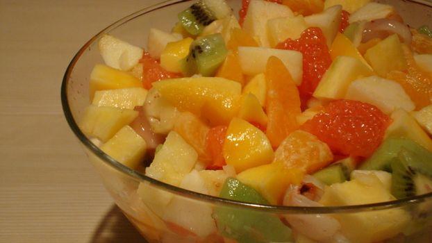 салат, фруктовый, десерт, киви, яблоко