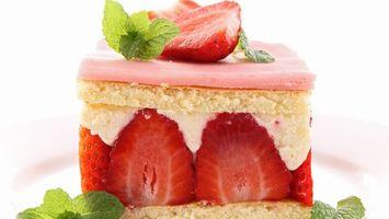 Обои торт, ягоды, клубника, сладости, десерт, бисквит, еда