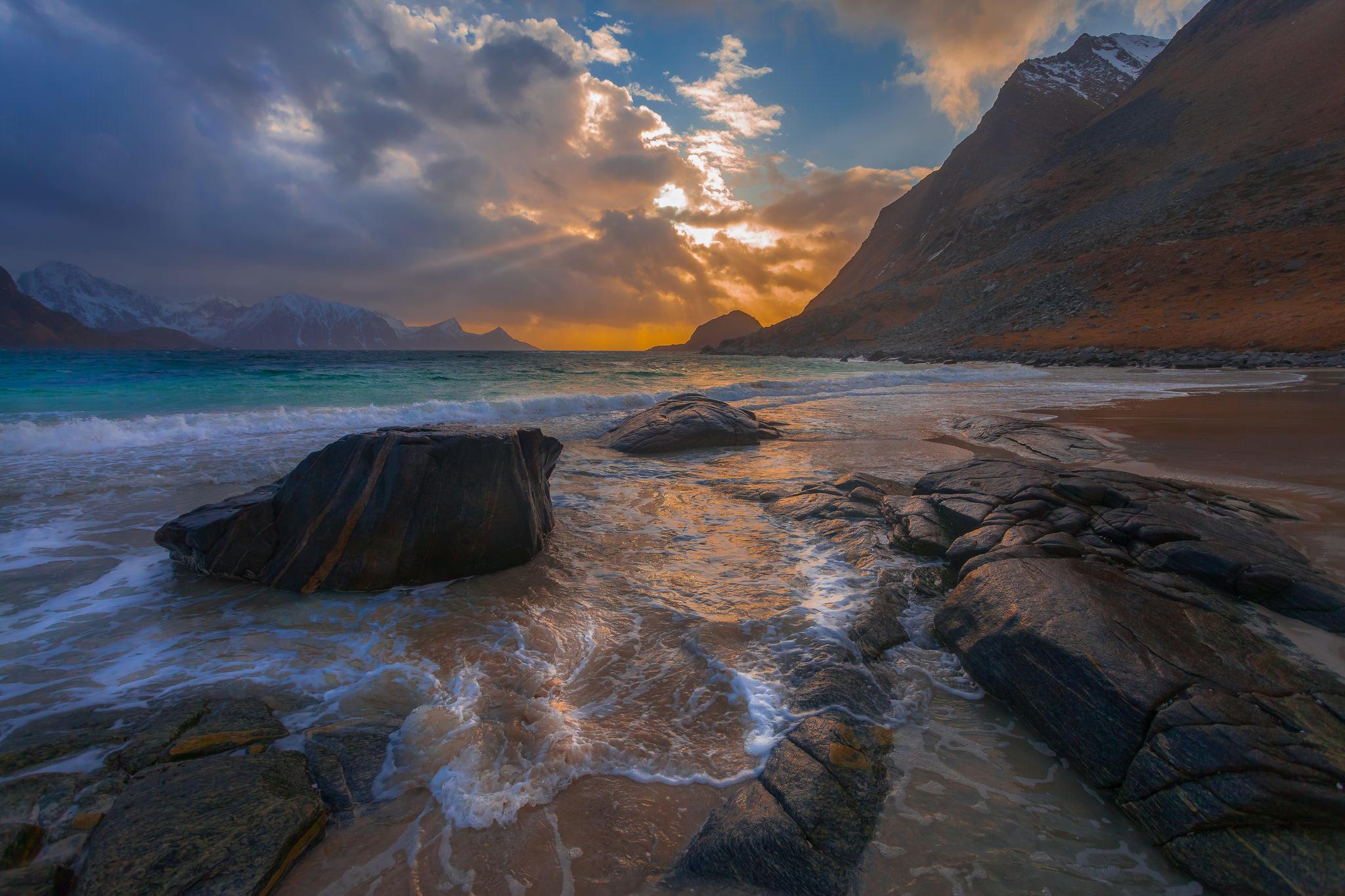 Обои закат, море, скалы, камни
