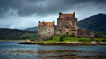 Бесплатные фото замок,старый,камень,кладка,река,горы,стиль