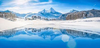 Заставки зима, озеро, дома