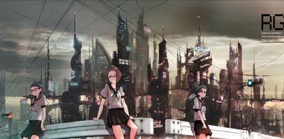 Фото бесплатно девушки, очки, здания