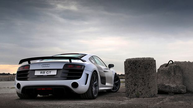 Photo free audi r8 gt, lights, exhaust