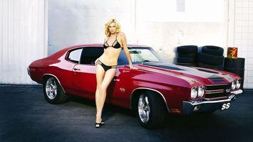 Бесплатные фото блондинка, белье, глаза, губы, машина, вишневая, девушки