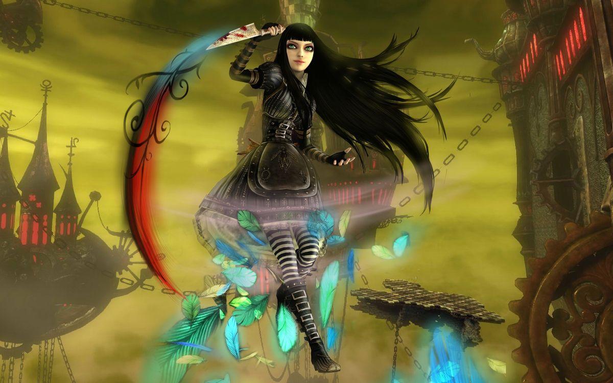 Фото бесплатно девушка, картинка, мультик, воин, костюм, перья, меч, волосы, брюнетка, сапоги, дома, аниме, аниме