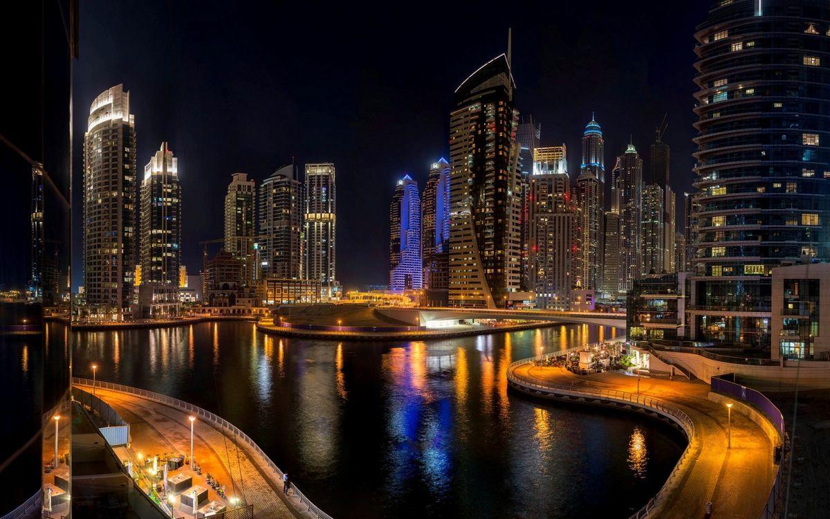 Фото бесплатно небоскребы, огни, река - на рабочий стол