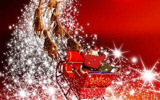 Бесплатные фото дед мороз,на санях,рисованный,звездочки,летит,новый год,рендеринг