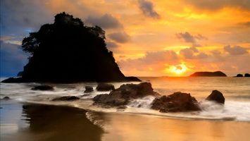 Фото бесплатно закат, солнце, облака, небо, море, легкий, бриз, берег, пейзажи