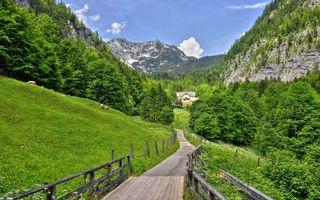 Бесплатные фото горы,деревья,трава,тропинка,дом,небо,облака