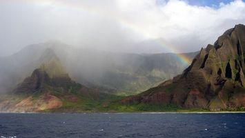 Бесплатные фото горы,скалы,радуга,туман,облака,море,природа
