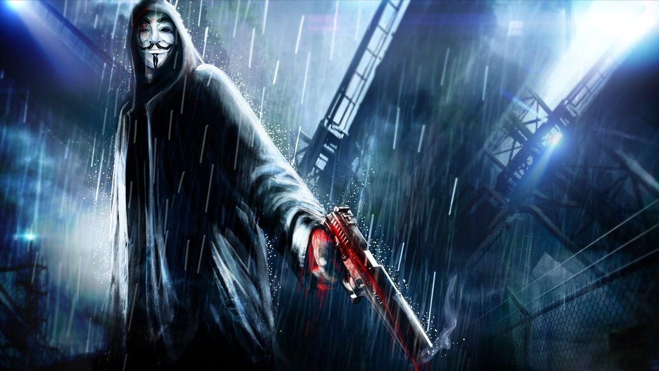 Фото бесплатно маска, человек, парень, убийца, пистолет, дождь, картинка, графика, кровь, корабль, гаражи, мультфильмы, мультфильмы