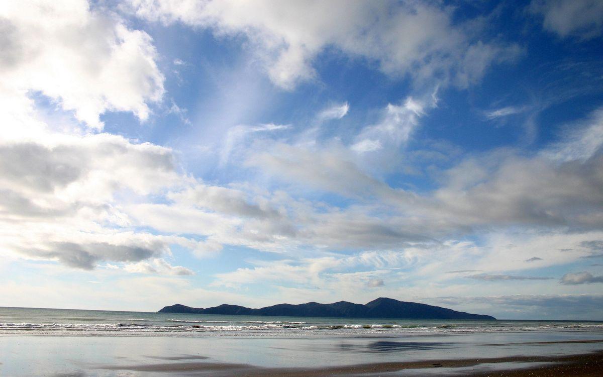 Фото бесплатно море, горы, небо, облака, волны, песок, природа, природа