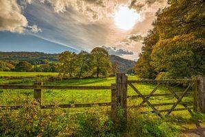 Заставки поле, деревья, забор, небо, облака, пейзаж