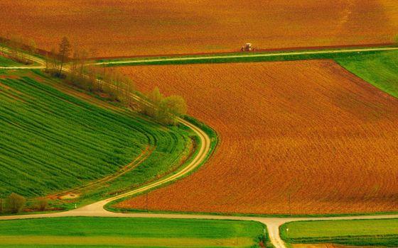 Фото бесплатно поля, деревья, дороги