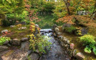 Бесплатные фото река,мост,камни,трава,деревья,природа