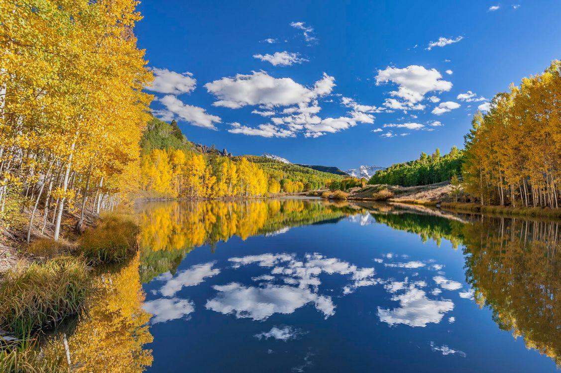 Фото бесплатно Сан Хуан горы, Колорадо, США, осень, озеро, деревья, пейзаж, пейзажи