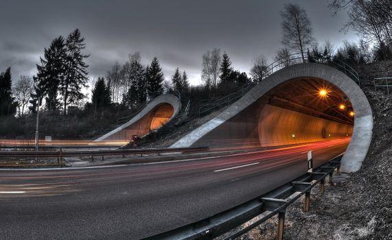 Фото бесплатно тоннель, магистраль, освещение