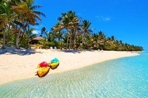 Фото бесплатно берег, пальмы, лодки