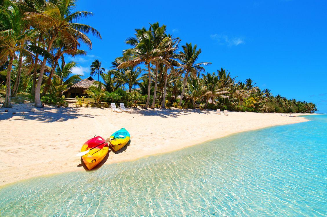 Фото бесплатно берег, пальмы, лодки - на рабочий стол