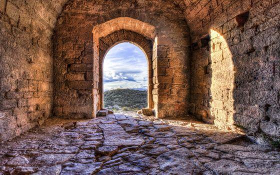 Заставки замок,крепость,кладка,камень,проем,улица,разное